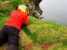 Fotografovanie na útesoch Látrabjarg, Západné fjordy